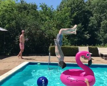 Swimmer's Head-First Spinning-Dive Right Through The Hole In An Inflatable Flamingo Ring 2