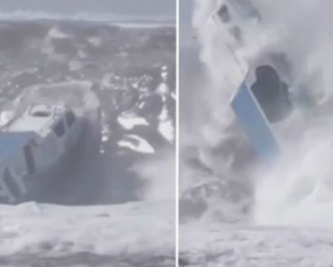 Dramatic Moment Tiny Boat Is Capsized By Huge Wave In Indonesia 2
