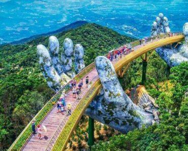 Giant Hands Cradle Vietnam's New Golden Bridge Near Da Nang 3
