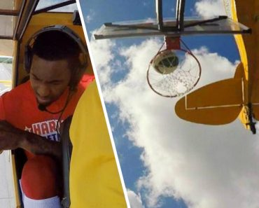 Harlem Globetrotter Makes Incredible Trick Shot From Plane Flying 70 MPH 3