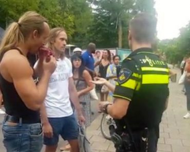 Man Casually Eats Raw Steak Dripping With Blood Outside Vegan Festival 2